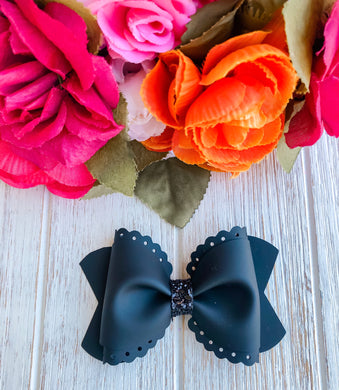 Scalloped Black Jelly Pool Bow Headband | Hair Clip