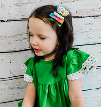 St Patrick's Day Rainbow Pot of Gold Faux Leather Glitter Bow Headband | Hair Clip