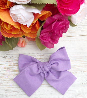 "Spring Purple Hand Tied 4"" Fabric Bow Headband 