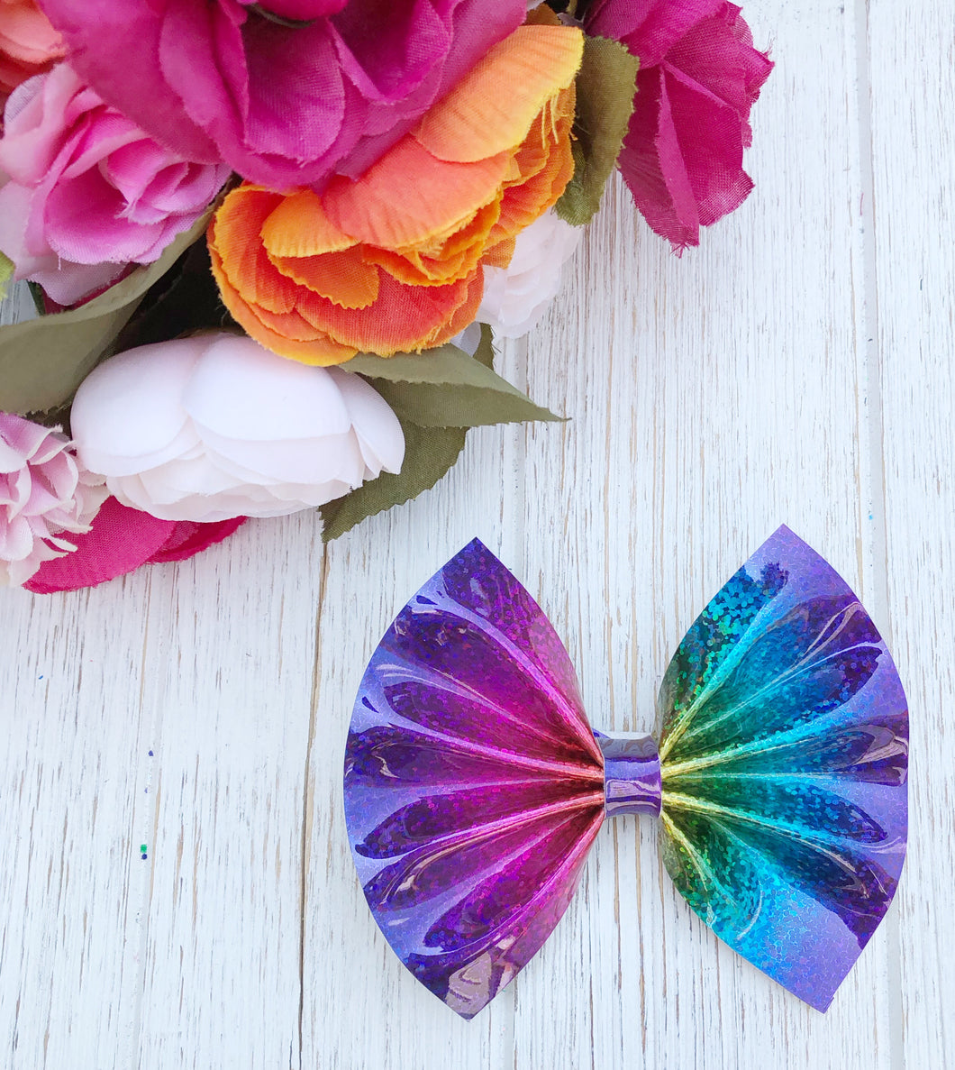 New Rainbow Metallic Faux Leather Bow Headband | Hair Clip