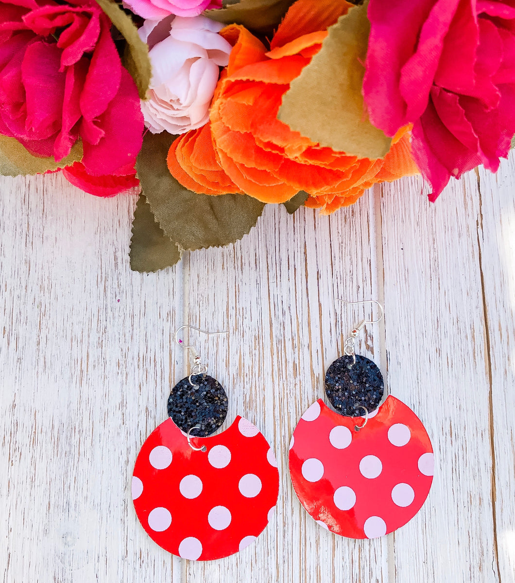 Red Polka Dot Glitter Faux Leather Earrings
