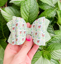 Frog Princess Faux Leather Glitter Bow Headband | Hair Clip