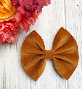 Fall Tan Velvet Bow Headband | Hair Clip