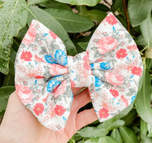 Farmhouse Floral Fabric Bow Headband | Hair Clip