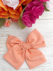 Spring Sun Kissed Coral Hand Tied Fabric Bow Headband | Hair Clip