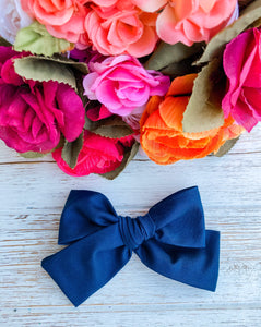 Navy Blue Petite Hand Tied Bow
