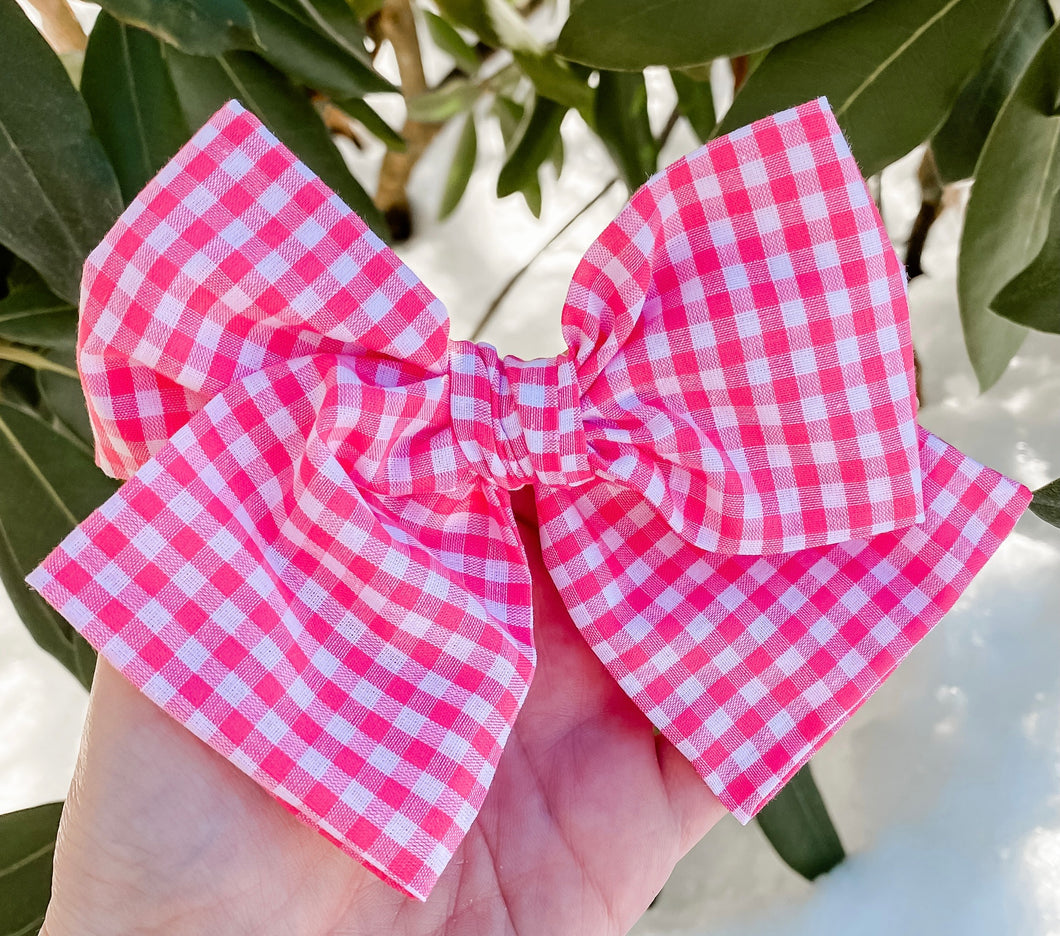 Gingham Hand Tied Fabric Bow Headband | Hair Clip