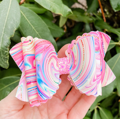 Scalloped Swirly Girly Faux Leather Bow Headband | Hair Clip
