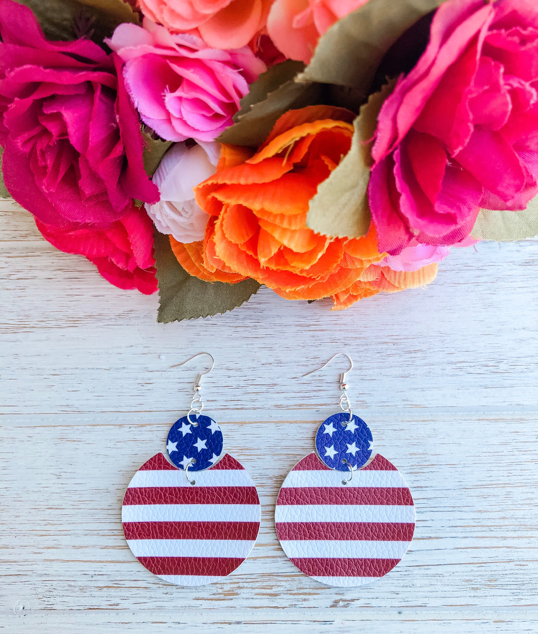 USA Patriotic Faux Leather Earrings