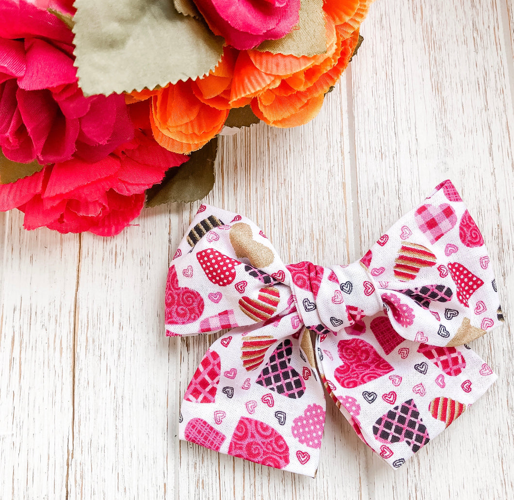 "Valentine Tossed Patterned Hearts 4"" Fabric Hand Tied Bow Headband 