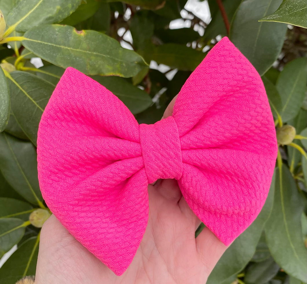 Neon Pink Liverpool Fabric Bow Headband | Hair Clip