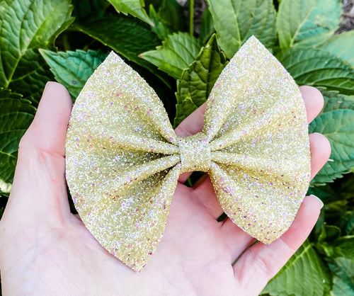 Yellow Pixie Dust Glitter Bow Headband | Hair Clip