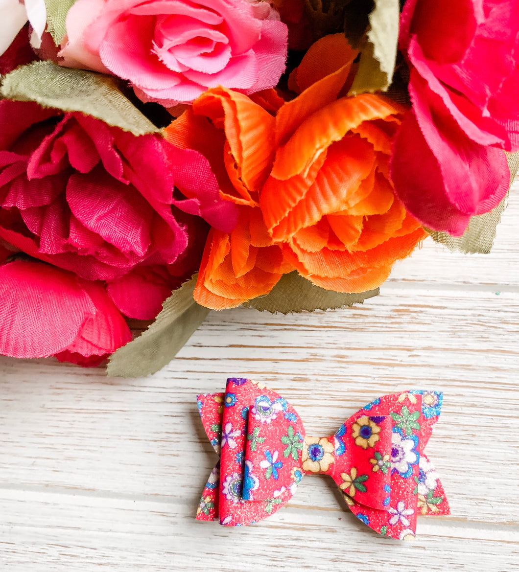 Newborn Mini Stacked Red Floral Faux Leather Bow Headband | Hair Clip