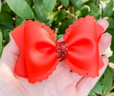 Scalloped Red Jelly Pool Bow Headband | Hair Clip