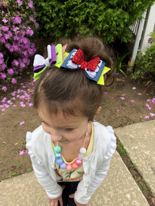 Woody & Jessie Triple Stacked Faux Leather Glitter Bow Headband | Hair Clip