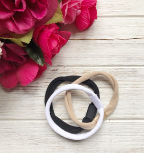 Nylon Attachable Headbands SET OF THREE (Tan, White, & Black)