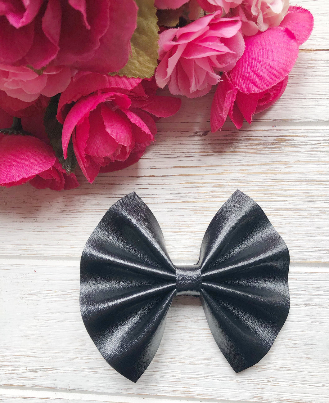 Black Smooth Faux Leather Bow Headband | Hair Clip