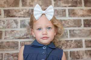 White Frosted Glitter Bow Headband | Hair Clip