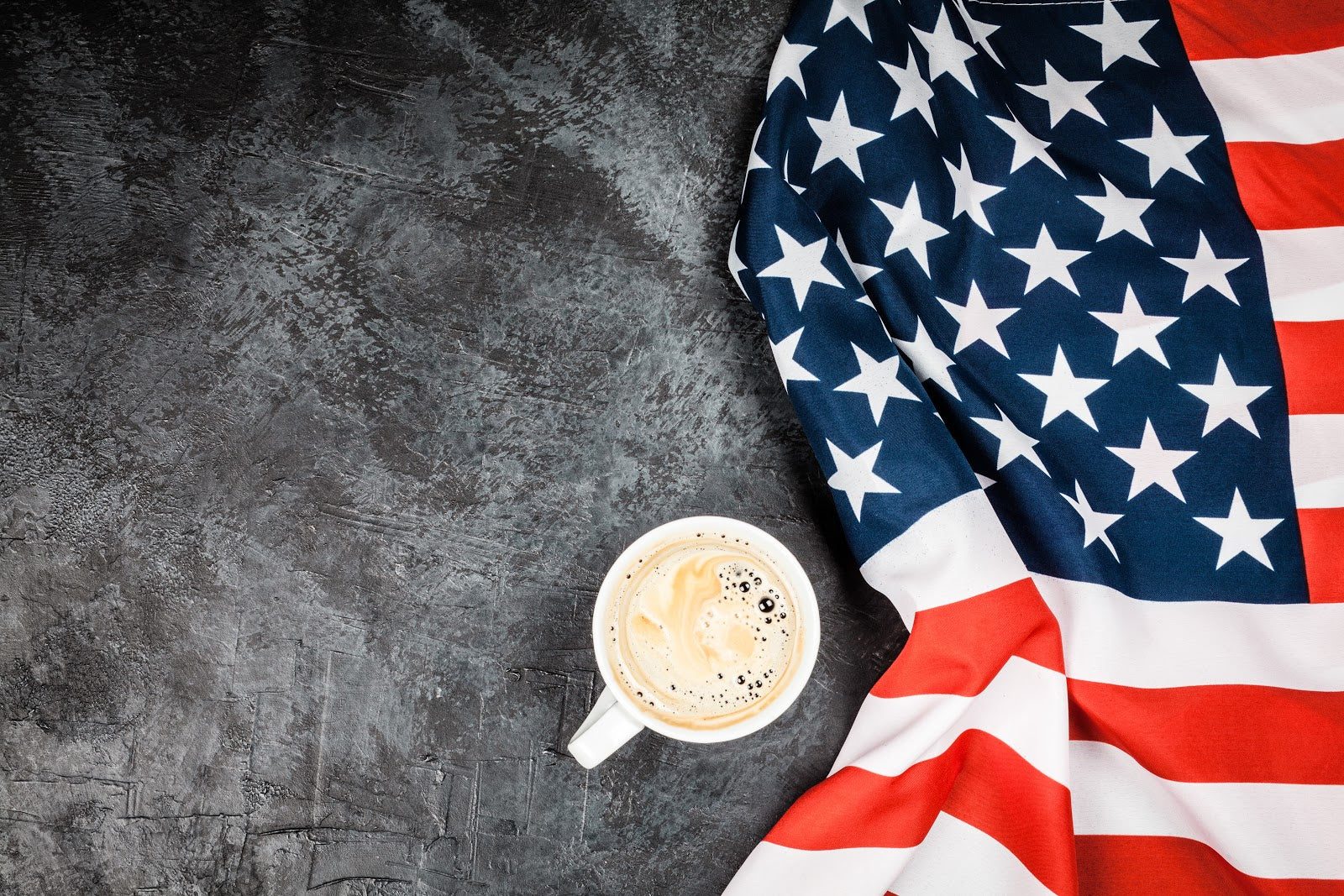 history of coffee america flag and coffee mug
