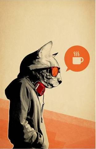 poster, cat, coffee, biohazard coffee, gift
