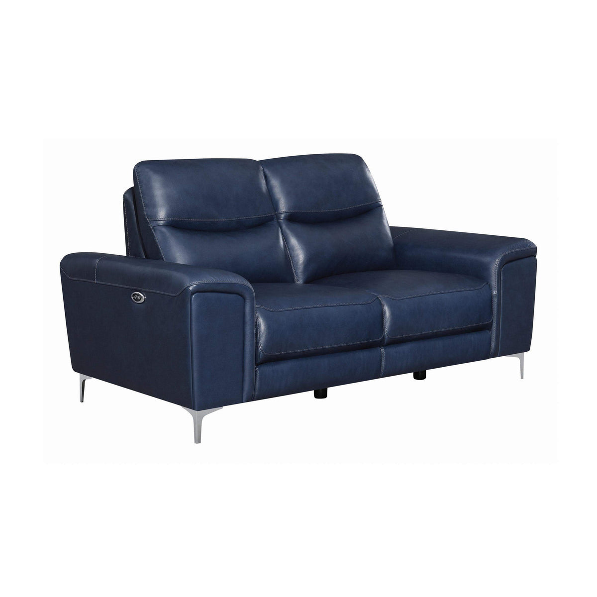 Leather Sofas In Los Angeles: Lennox Blue Genuine Leather Power Recliner Loveseat