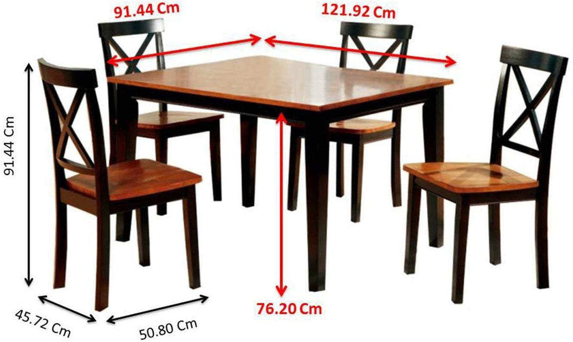 Paso Brown Wood Standard Height Dining Table And Chair Set