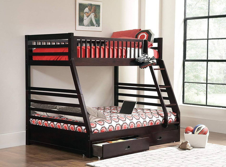 Rustic Twin over Full Bunk Bed with Under Bed Storage