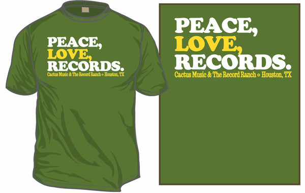 Peace, Love, Records T-shirt (Green Only)