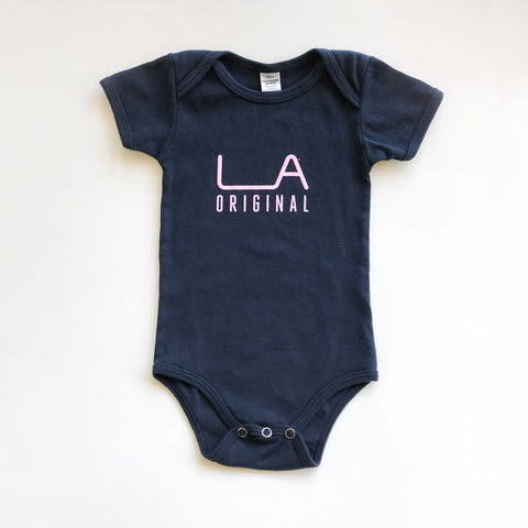 LA Original Core Collection Baby Onesies Navy and Pink