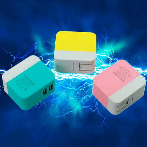 Universal 5V 1.2A Dual USB Colorful Folding Charger Travel Charger Adapter Portable US Plug Mobile Phone MP3 Charger - EverythingTechGear