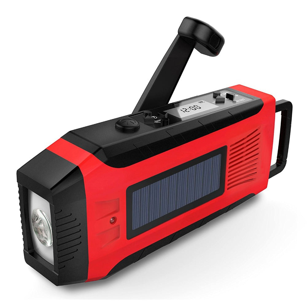 Solar Power Phone Charger with AM/FM/WB  Radio Hand Crank Dynamo 2000mAh With Flashlight - EverythingTechGear
