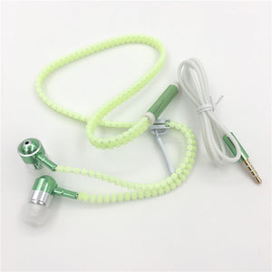Glow in the Dark Zipper Headphones With Handsfree Mic - EverythingTechGear