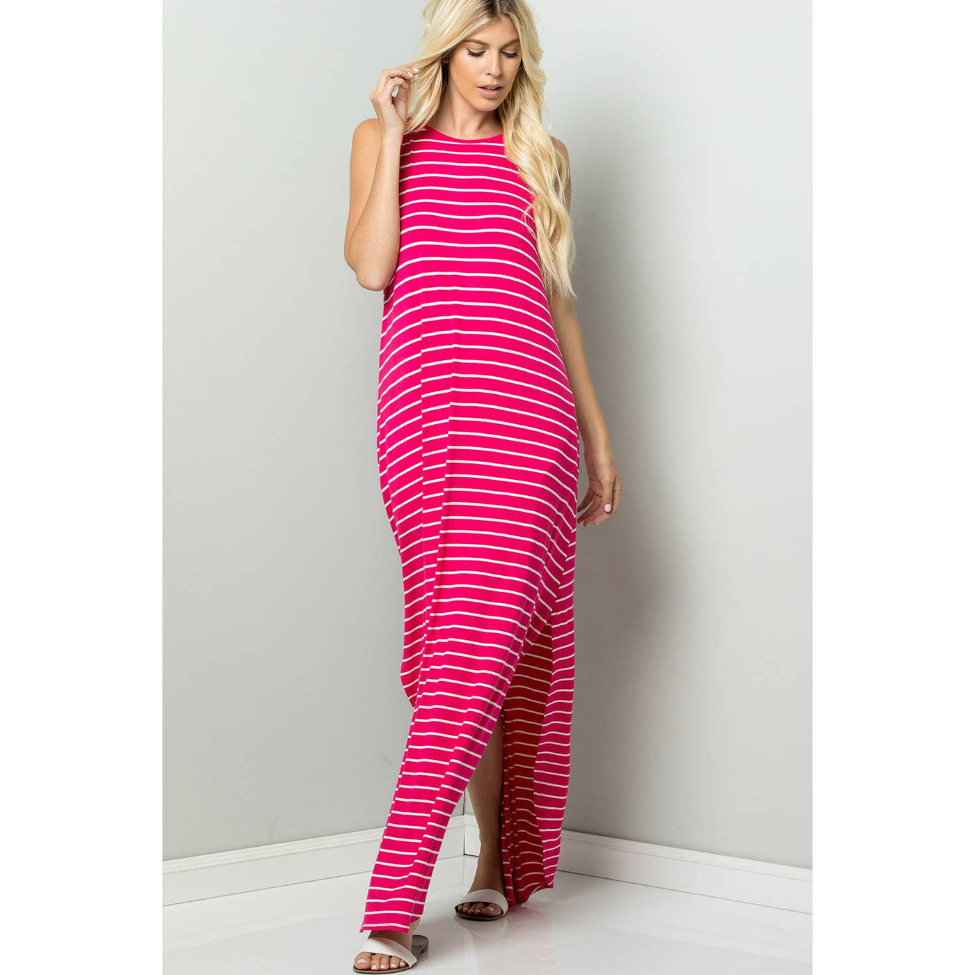 Stripe Cami Maxi Jersey Dress