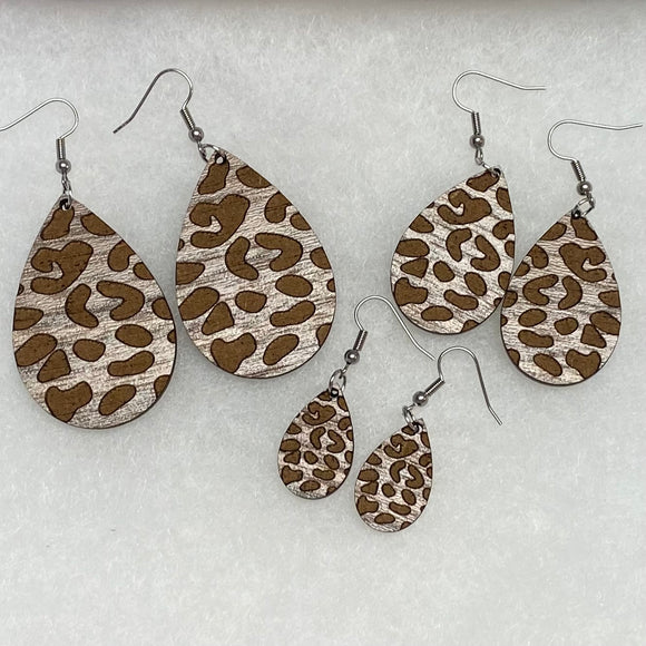 Holly and Liz - Walnut Wood Leopard Drop earrings