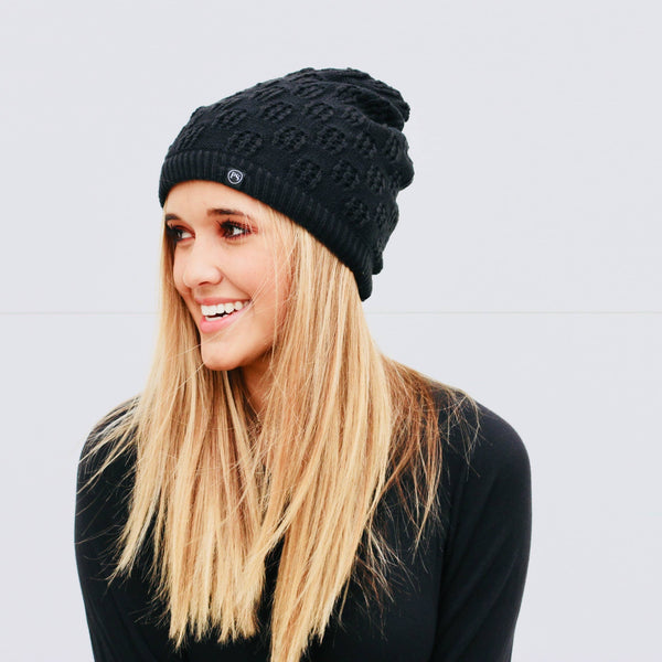 Winter knit peek-a-boo beanie