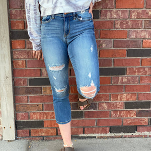 Distressed Denim Capri