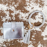 Wallet Ring Wristlet with Tassle