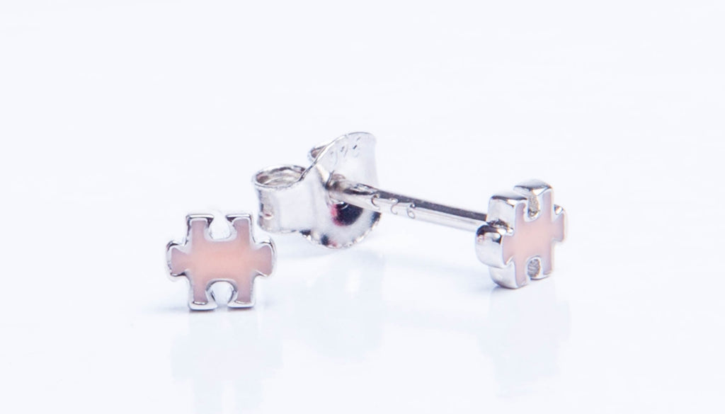 Pink Jigsaw Earrings