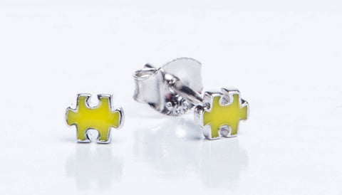 Yellow Jigsaw Earrings