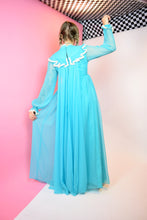 60S BABY BLUE CHIFFON PRAIRIE DRESS