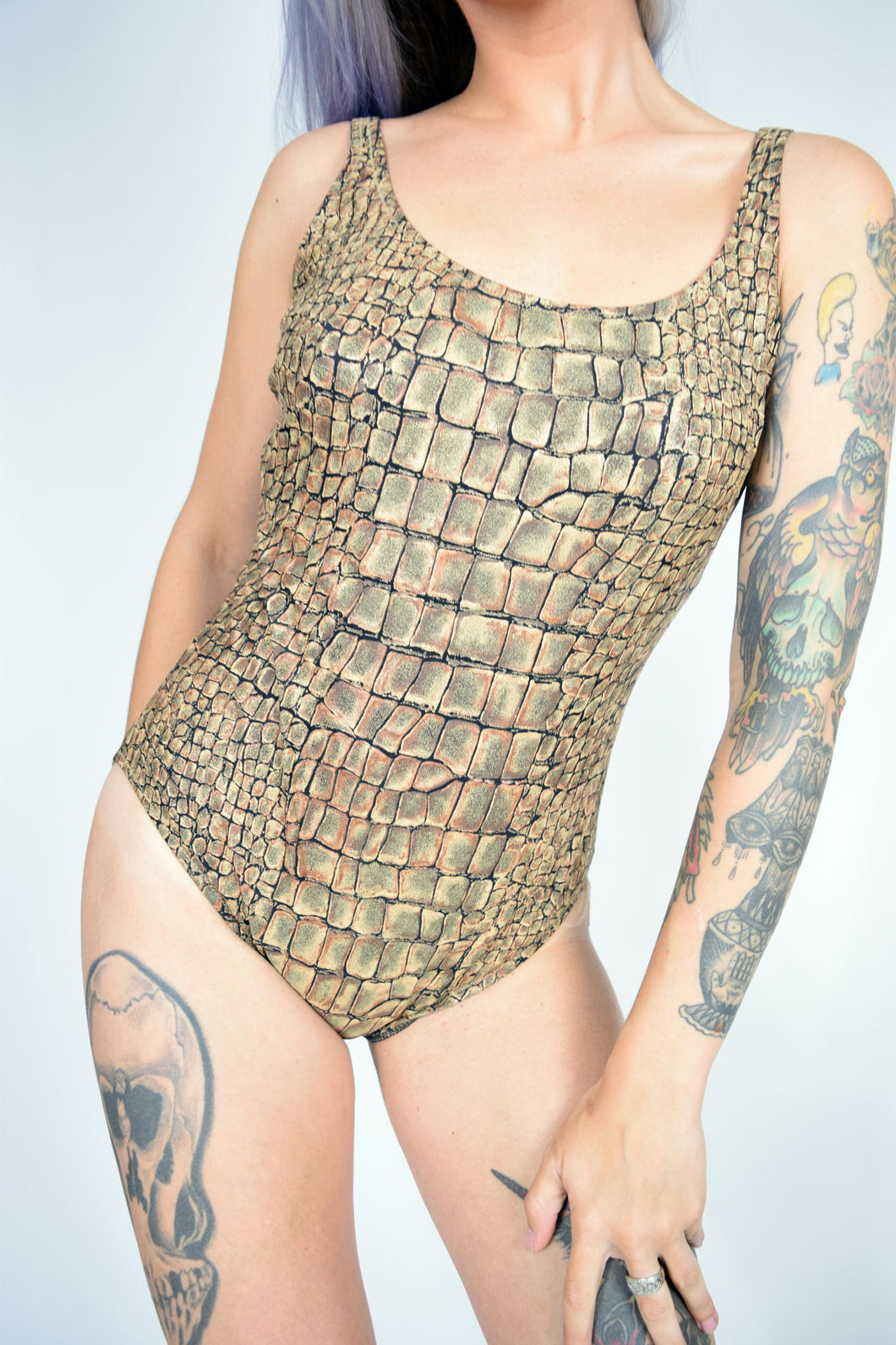 90s FAUX CROC SWIM-SUIT
