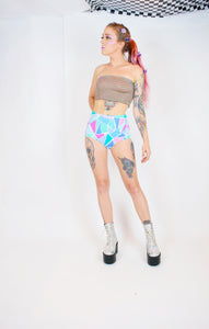 80s PASTEL GEO SWIM SHORTS - SMALL