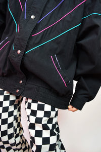 80s NYC PASTEL DETAILED BOMBER - LARGE