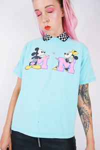 90s KAWAII PASTEL MICKEY N MINNIE TEE - S/M