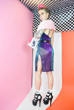 Y2K HOLOGRAPHIC MIDI DRESS - S