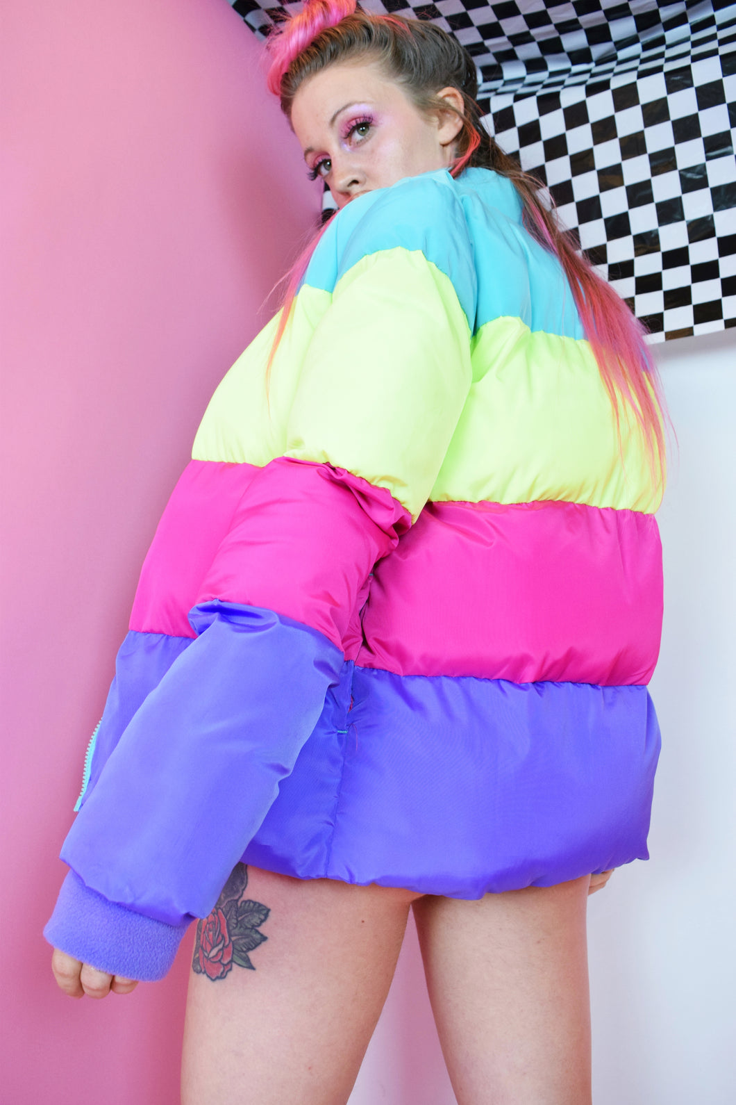 90s PASTEL DREAMZ PUFFER COAT - SMALL
