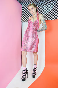 Y2k HOLOGRAPHIC PINK FAUX SNAKE MINI - M/L