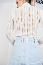 70s MILKY CROCHET TURTLENECK - SMALL