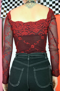 Y2K RUBY RED RENAISSANCE BLOUSE