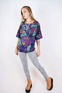 80s ABSTRACT SILK BLOUSE - L